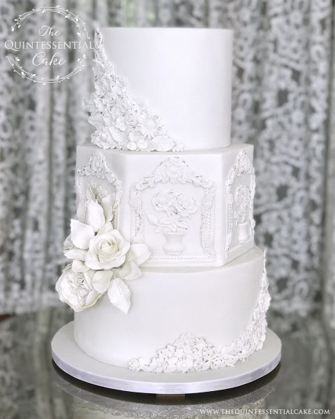 TQC Bas Relief & Roses Wedding Cake | The Quintessential Cake | Chicago | Luxury Wedding Cakes | The Armour House