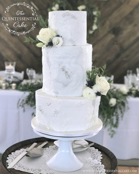 TQC Grey Marble Rough Stone & Bas Relief Wedding Cake | The Quintessential Cake | Chicago | Luxury Wedding Cakes | Northfork Farm