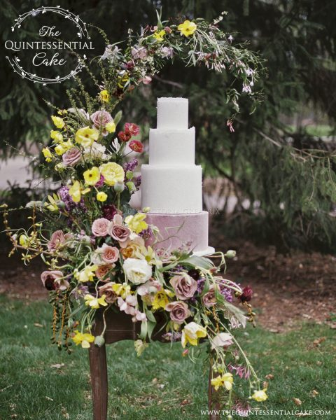 TQC Velvet and Wafer Paper Cake | The Quintessential Cake | Chicago | Luxury Wedding Cakes | Cantigny Gardens