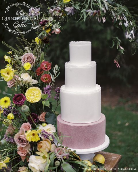 TQC Velvet and Wafer Paper Cake | The Quintessential Cake | Chicago | Luxury Wedding Cakes | Cantigny Gardens