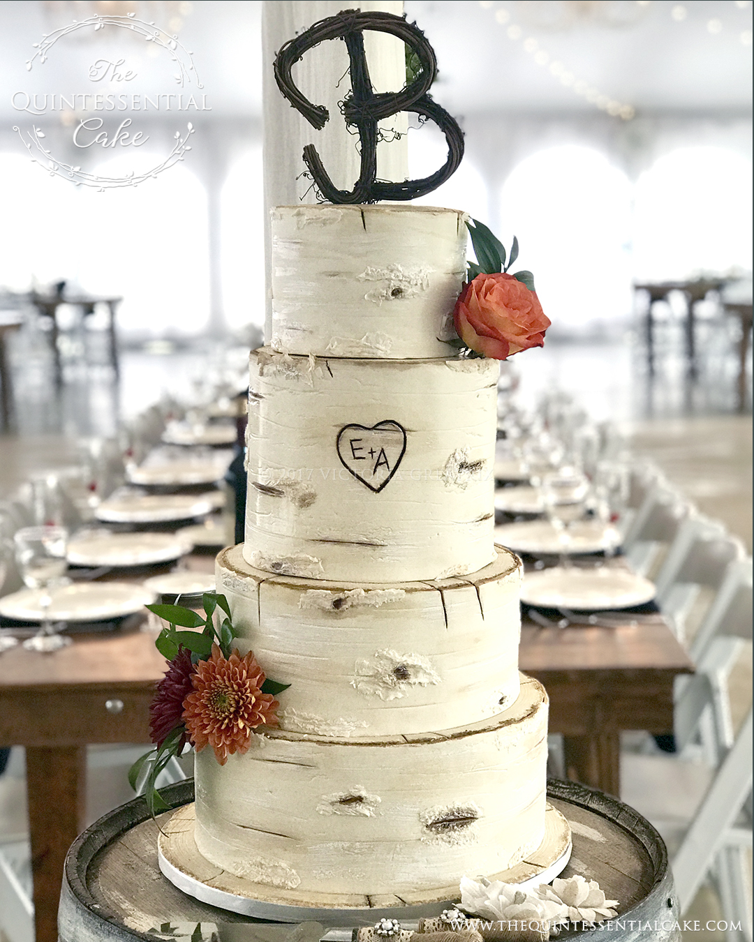 TQC Birch Tree Wedding Cake | The Quintessential Cake | Chicago | Luxury Wedding Cakes | Emerson Creek Pottery & Tea Room