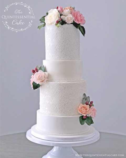 TQC Damask Lace Wedding Cake | The Quintessential Cake | Chicago | Luxury Wedding Cakes | Lake Ellyn Boathouse | Glen Ellyn