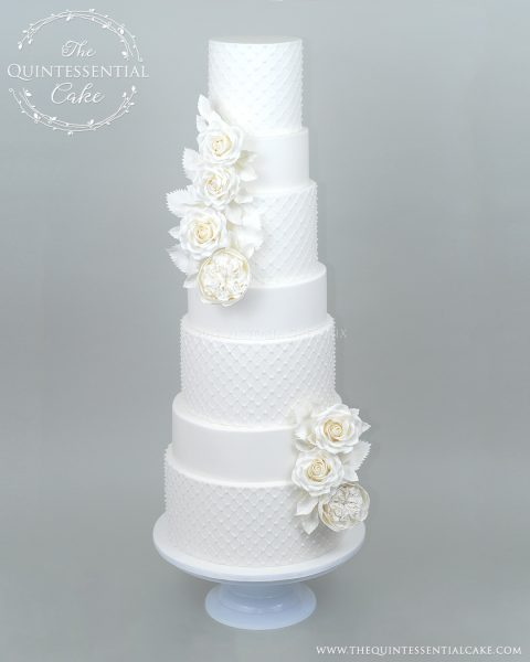 TQC All White Wedding Cake with Sugar Roses and Pearls | The Quintessential Cake | Chicago | Luxury Wedding Cakes