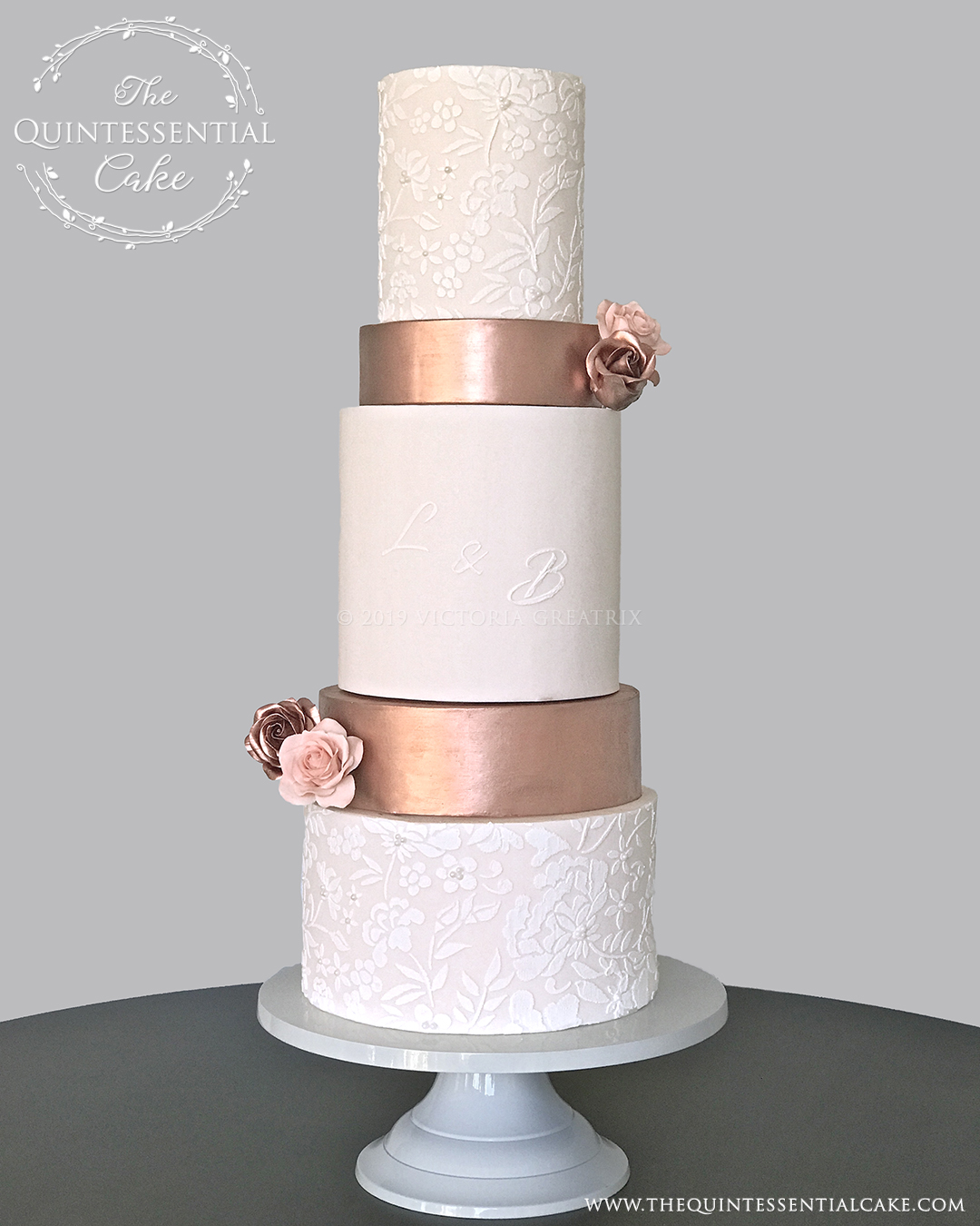 TQC Peach & Copper Wedding Cake | The Quintessential Cake | Luxury Wedding Cakes | Chicago | Hotel Baker | St Charles