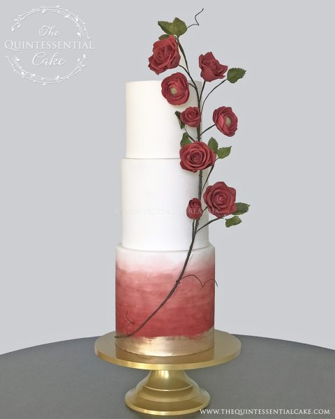 TQC Red Watercolor & Rose Vine Wedding Cake   The Quintessential Cake   Luxury Wedding Cakes   Chicago   Hotel Baker   St Charles