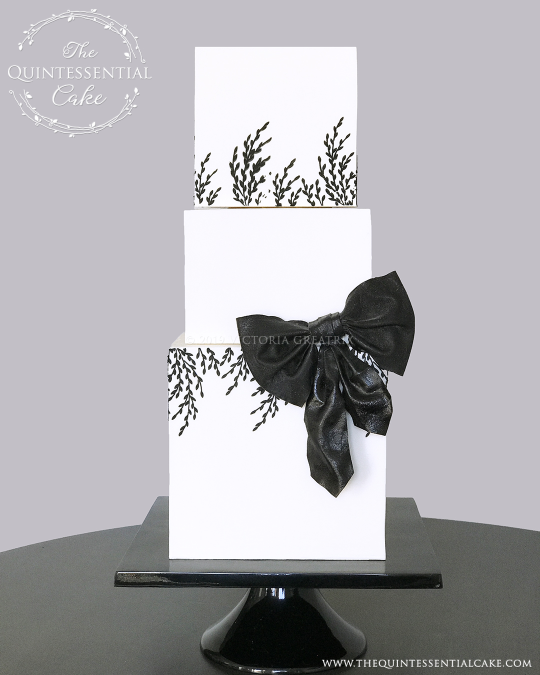 TQC Square Wedding Cake with Black Bow | The Quintessential Cake | Luxury Wedding Cakes | Chicago | Hotel Baker | St Charles