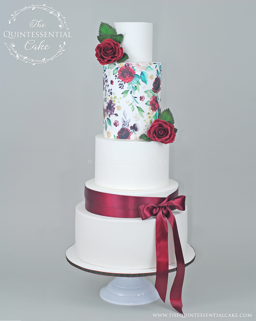 Rose Watercolor Wedding Cake | The Quintessential Cake | Chicago | Luxury Wedding Cakes | Abbey Farms