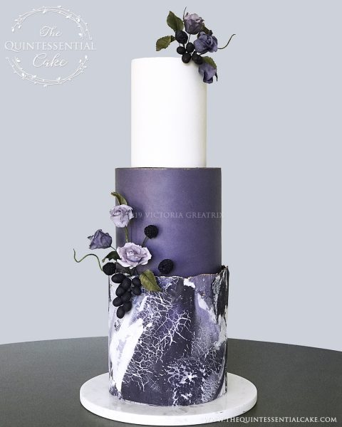 TQC Purple Stone Wedding Cake | The Quintessential Cake | Luxury Wedding Cakes | Chicago | Hotel Baker | St Charles