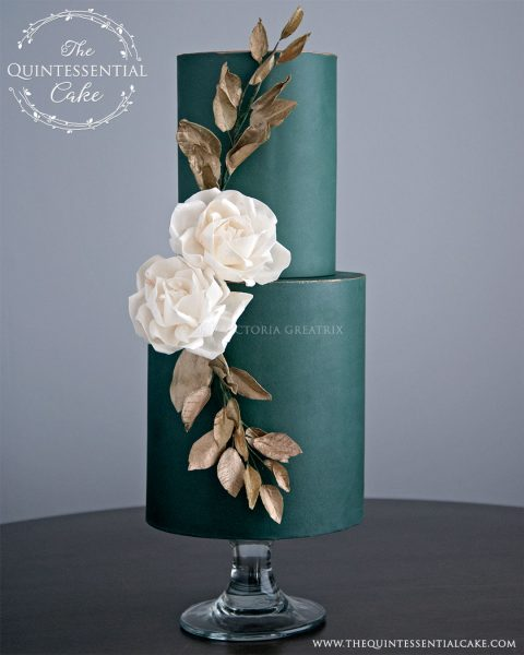 TQC Green Wedding Cake with Burnished Gold Accents and Wafer Paper Flowers | The Quintessential Cake | Chicago | Luxury Wedding Cakes