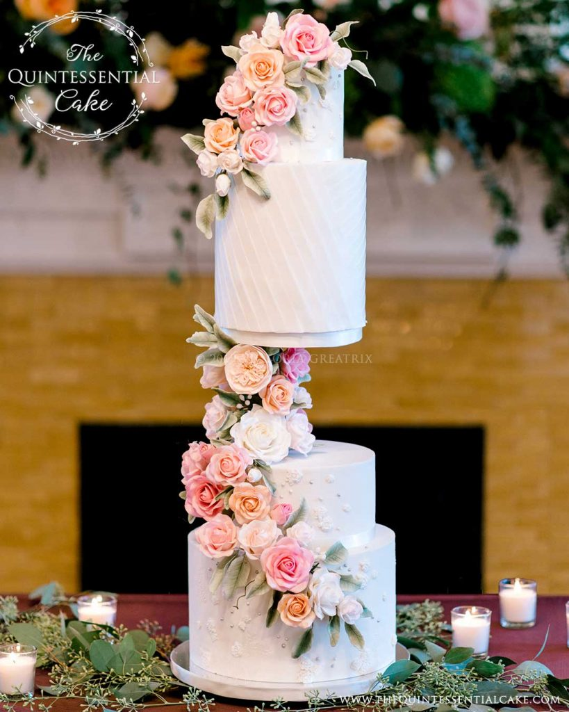 TQC Floating Tier Cake | The Quintessential Cake | Chicago | Luxury Wedding Cakes | Wilder Mansion