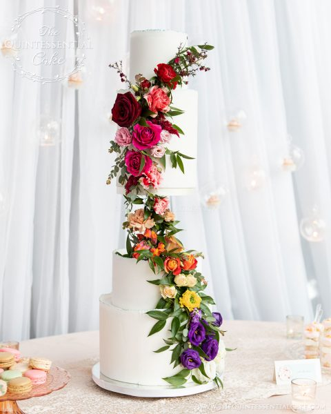 TQC Rainbow Florals Cake | The Quintessential Cake | Chicago | Luxury Wedding Cakes | Gallery 1500