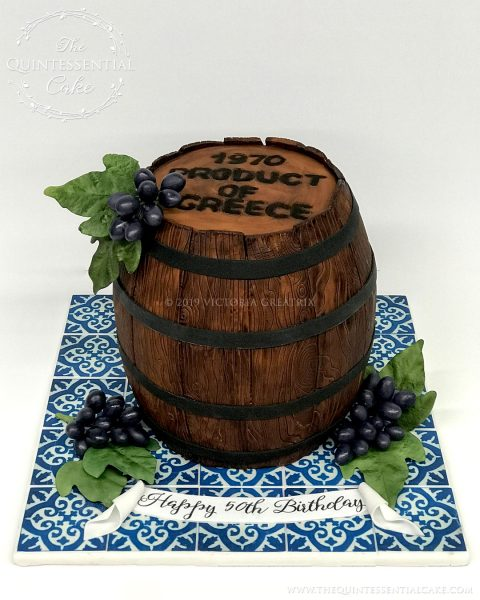TQC Wine Barrel Birthday Cake | The Quintessential Cake | Wheaton | Chicago | Custom Cakes