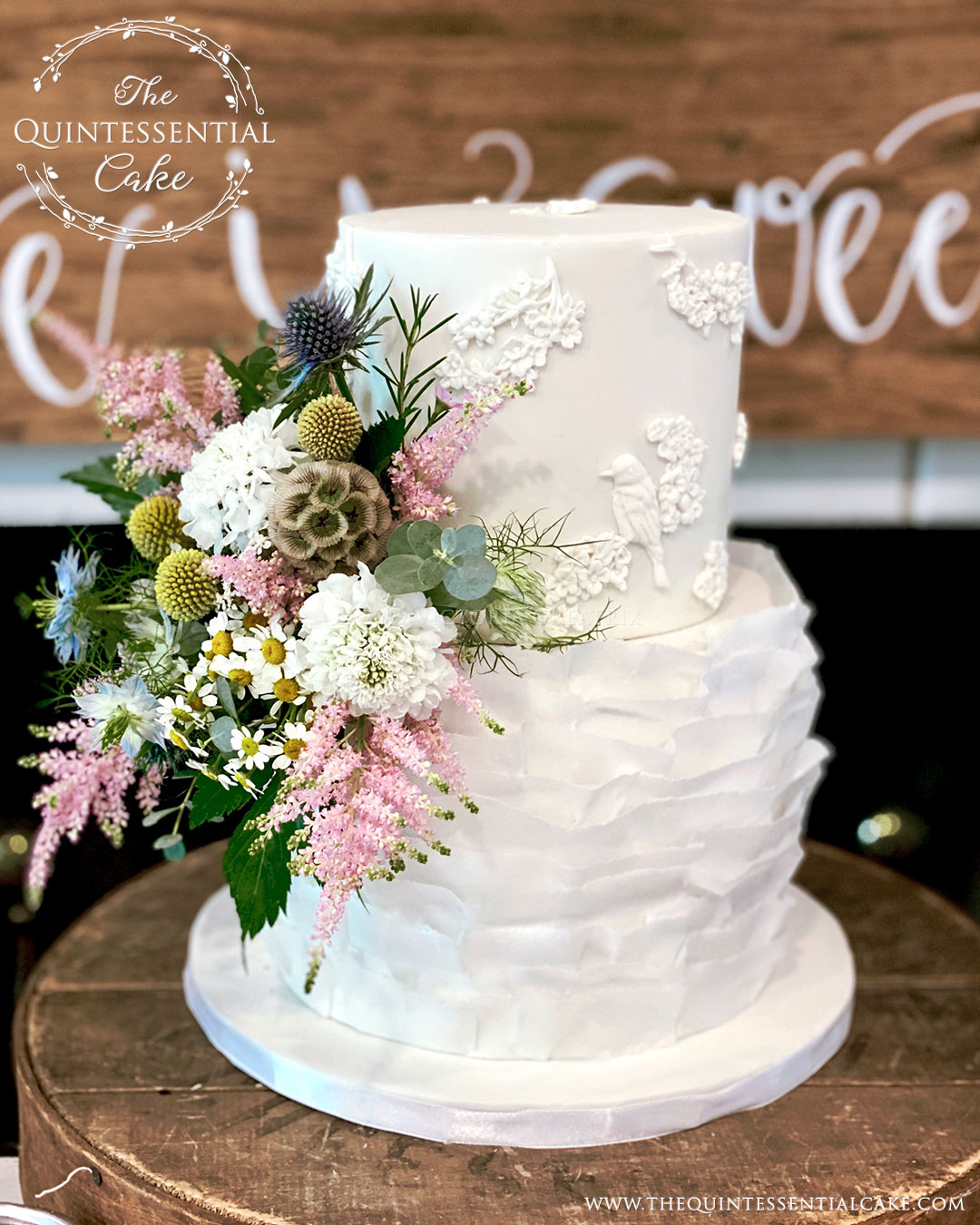 Wedding Cake with Ruffles & Bas Relief | The Quintessential Cake | Chicago | Luxury Wedding Cakes |