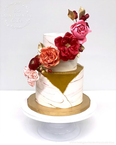 TQC Small Wedding Cake with Sugar Flowers | The Quintessential Cake | Wheaton | Chicago | Wedding Cakes