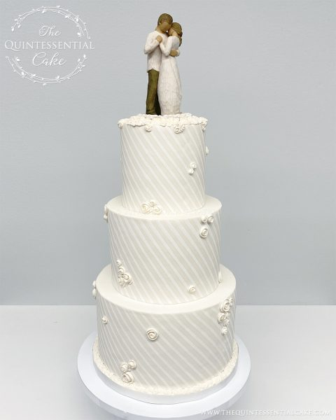 """TQC Wedding Cake with Willow Tree """"Promise"""" Topper 