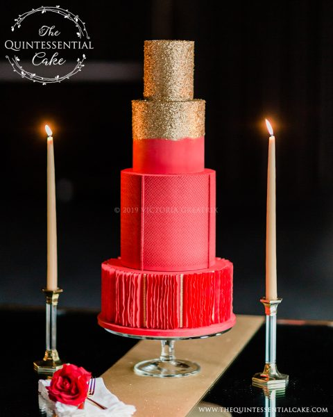 TQC Red & Gold Wedding Cake | The Quintessential Cake | Wheaton | Chicago | Wedding Cakes | Photography by Lauryn | The Dalcy |