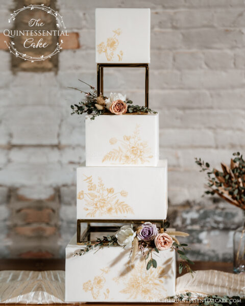 Gold Stenciled Cake with Risers | The Quintessential Cake | Wheaton | Chicago | Wedding Cakes | Sanctuary Events | Plainfield | Millennium Moments Photography