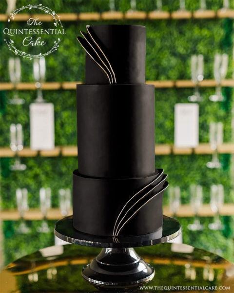 Black Hollywood Glam Wedding Cake | The Quintessential Cake | Wheaton | Chicago | Wedding Cakes | Seven Bridges Golf Club | Woodridge