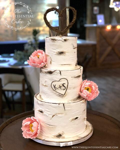 Birch Wedding Cake with Sugar Peonies | The Quintessential Cake | Wheaton