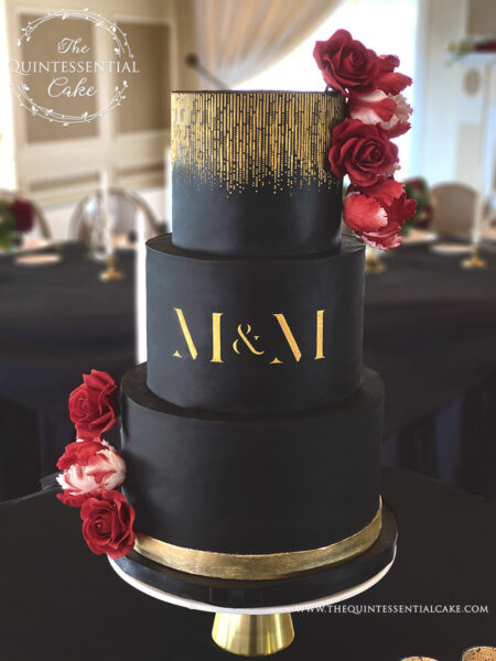 Black & Gold Wedding Cake with Sugar Roses and Tulips | The Quintessential Cake | Wheaton | St Charles Country Club | St Charles
