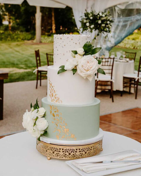 Green, White & Gold Wedding Cake | The Quintessential Cake | Wheaton | Naperville