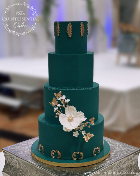 Green & Gold Wedding Cake   The Quintessential Cake   Wheaton   Waterford Banquets   Elmhurst
