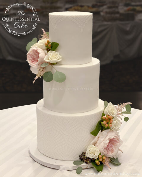 White Wedding Cake with flowers | The Quintessential Cake | Wheaton | Alpine Banquets | Darien