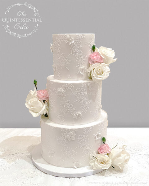 Lace Appliqué Wedding Cake | The Quintessential Cake | Wheaton | The Oscar Swan | Geneva