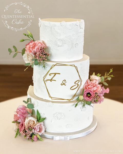 Lace Appliqué Wedding Cake   The Quintessential Cake   Wheaton   Meson Sabika   Naperville