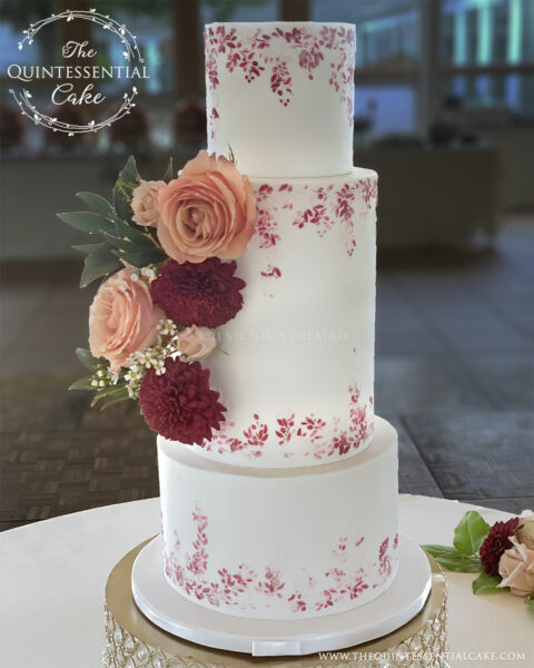 Burgundy and Pink Stenciled Wedding Cake   The Quintessential Cake   Wheaton   Danada House