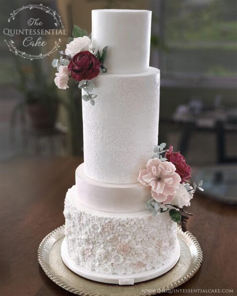 Pink Bas Relief Wedding Cake | The Quintessential Cake | Wheaton | Heritage Prairie Farm | Elburn