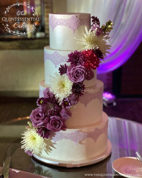 Quinceañera Cake with Purple Lace | The Quintessential Cake | Wheaton | Joliet | Rancho Los Guzman