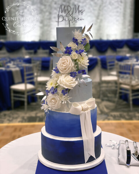 Blue Ombre & Silver Wedding Cake | The Quintessential Cake | Wheaton | Q Center | St. Charles