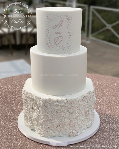 White & Rose Gold Wedding Cake with Bas Relief | The Quintessential Cake | Wheaton | Naperville