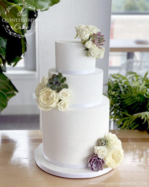 White Wedding Cake with Roses & Succulents   The Quintessential Cake   Wheaton   Santa Cielo   Hotel Indigo   Naperville