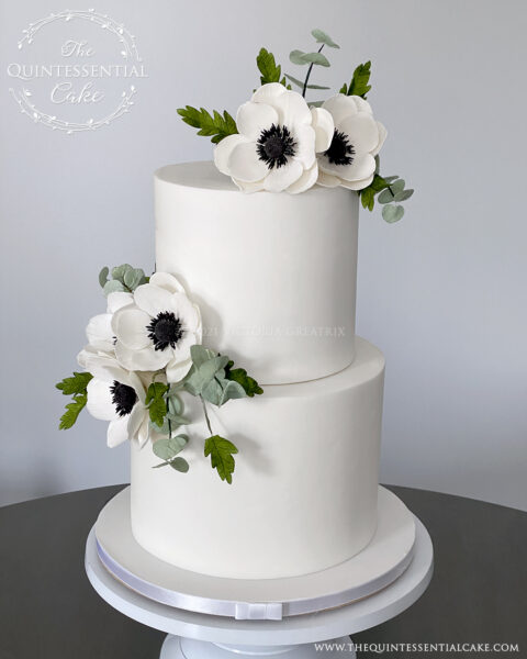 Simple White Wedding Cake with Sugar Anemones   The Quintessential Cake   Wheaton   The J Parker   Chicago