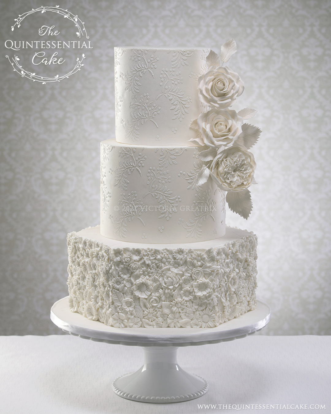 White Bas Relief Wedding Cake with Sugar Roses   The Quintessential Cake  Edward Fox Photography   Chicago Style Weddings  